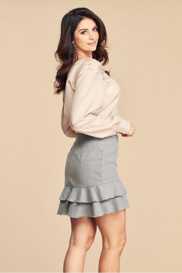 Spódnica wełniana z falbankami