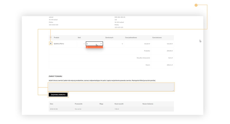 Oznacz produkt, opisz przyczynę zwrotu i kliknij na przycisk żadanie zwrotu