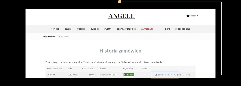 Kliknij na ikonę historia zamówień
